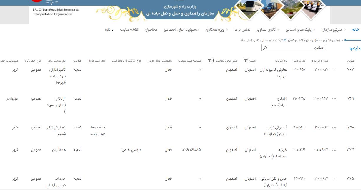 باربری های اصفهان